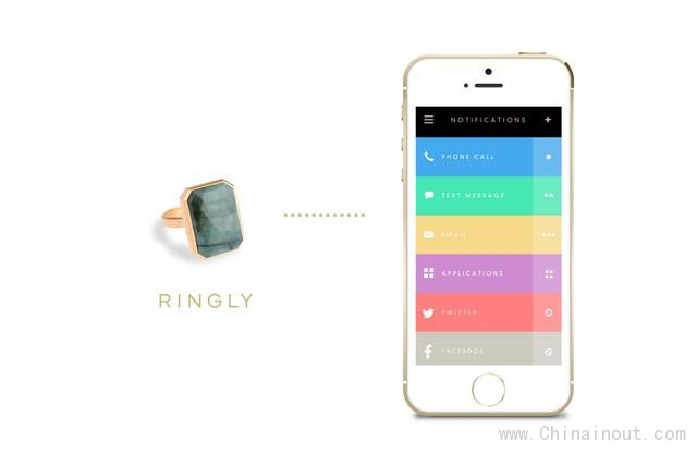 Ringly智能戒指:能在手机收到消息时发光