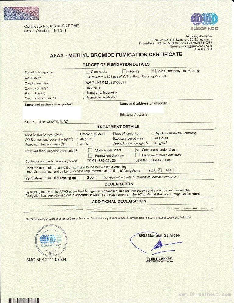 AFAS溴化甲烷熏蒸證書